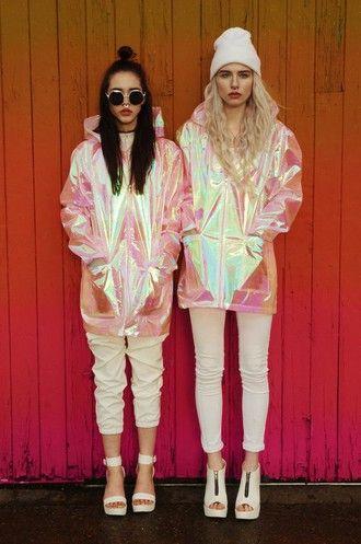 0a0d5c750d9 jacket rain coat raincoat holographic grunge wishlist coat pink iridescent  metallic pastel goth pale grunge soft grunge cardigan kawaii tumblr jacket  ...
