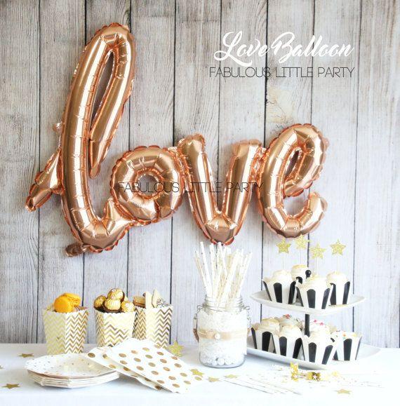 bridal shower decorations love balloon wedding photo props dessert table decor rose gold mylar balloon birthday