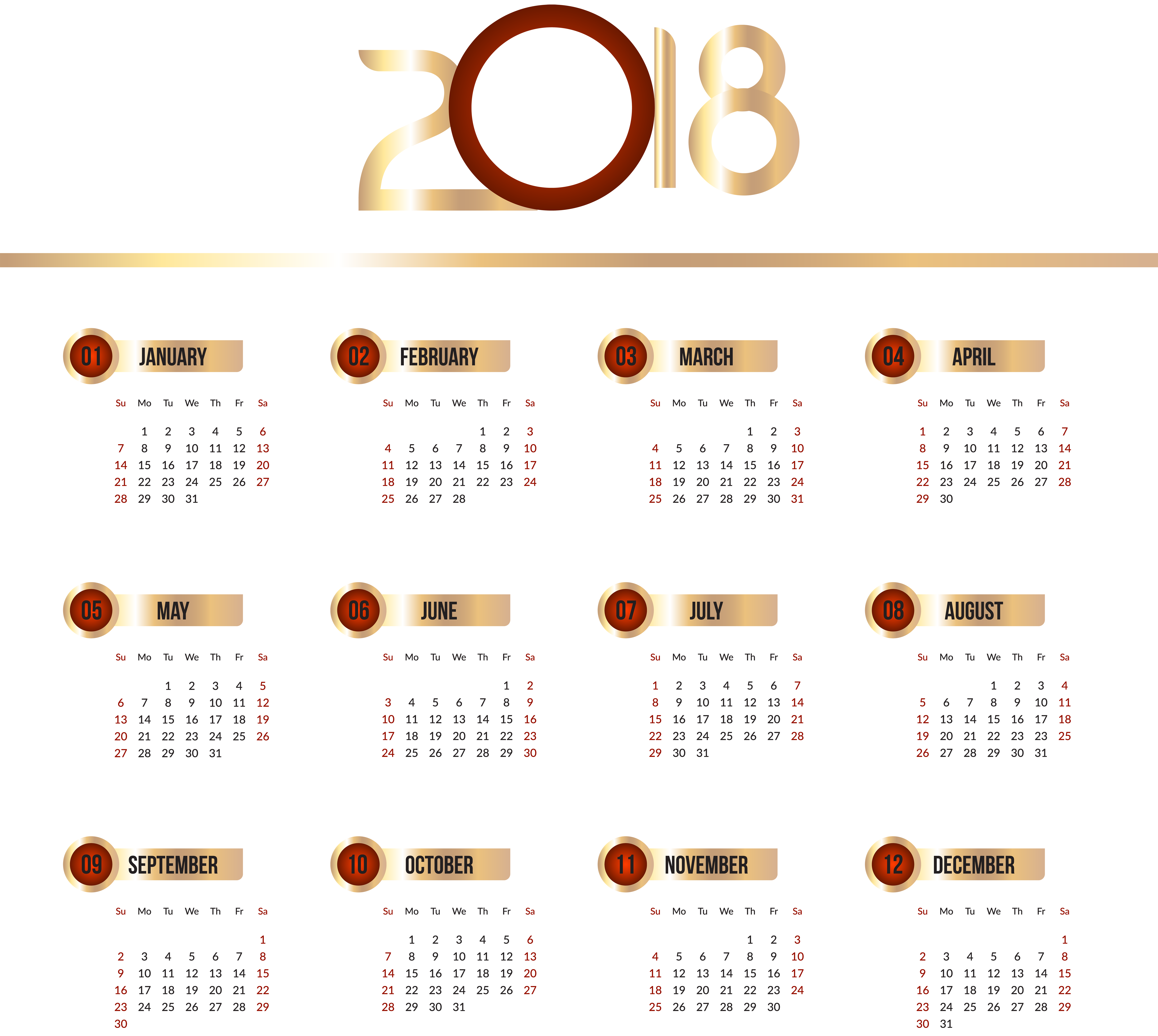 2018 calendar transparent clip art png image gallery yopriceville high quality images and. Black Bedroom Furniture Sets. Home Design Ideas