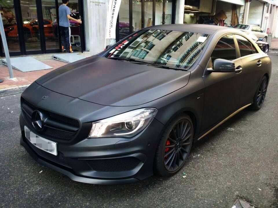 Cla45 amg wrapped in matte black mercedes benz for Matte black mercedes benz