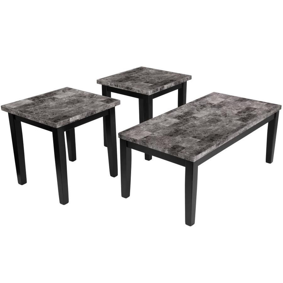 Flash Furniture Maysville Black Accent Table Set Lowes Com Marble Coffee Table Set Living Room Table Sets Marble Coffee Table [ 900 x 900 Pixel ]