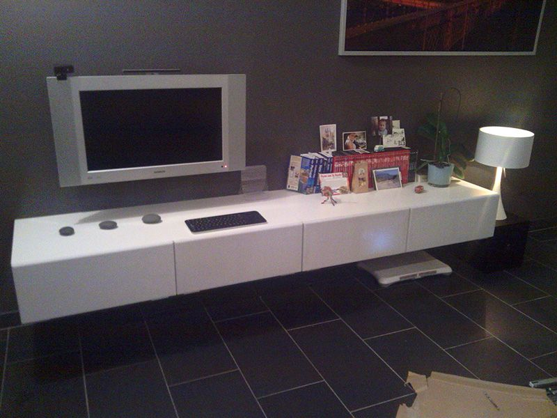 minimalistic floating tv unit materials besta bench x2 furniture board black mdf board. Black Bedroom Furniture Sets. Home Design Ideas