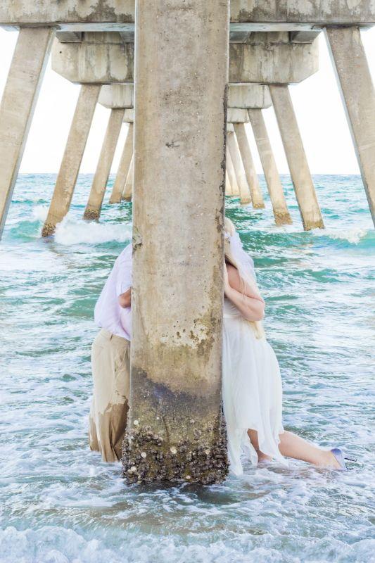 kissing under the pier { HALI ROSE PHOTOGRAPHY } - South Florida Wedding Photographer
