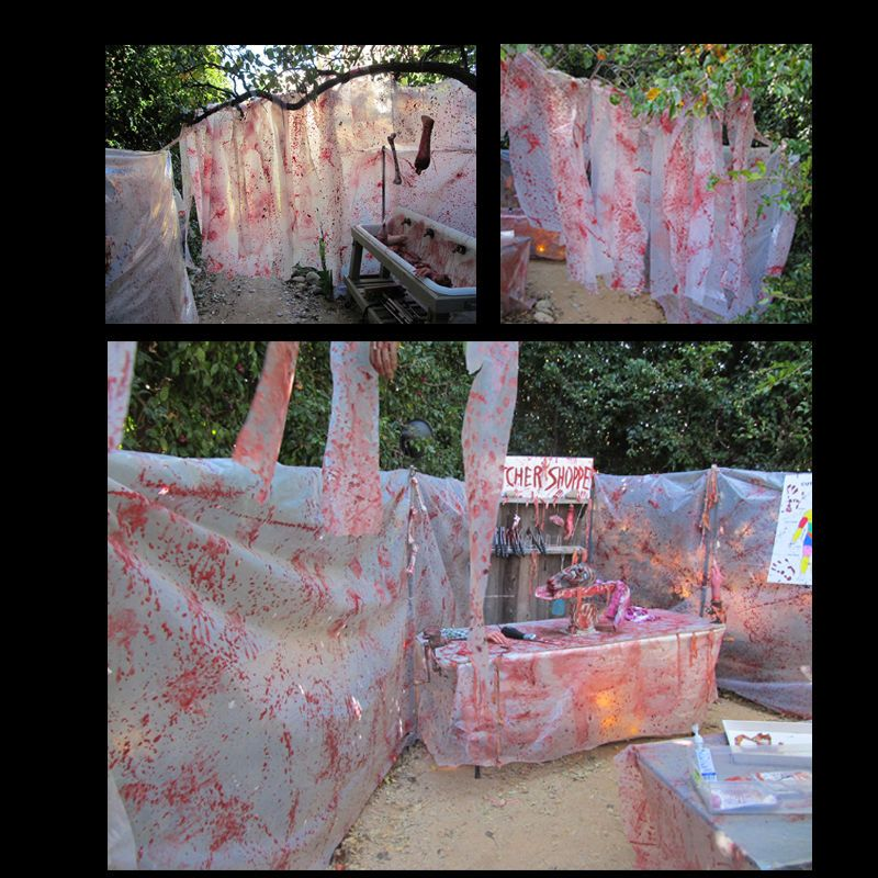 Bloody butcher plastic halloween haunt decor paint for Diy haunted house walls
