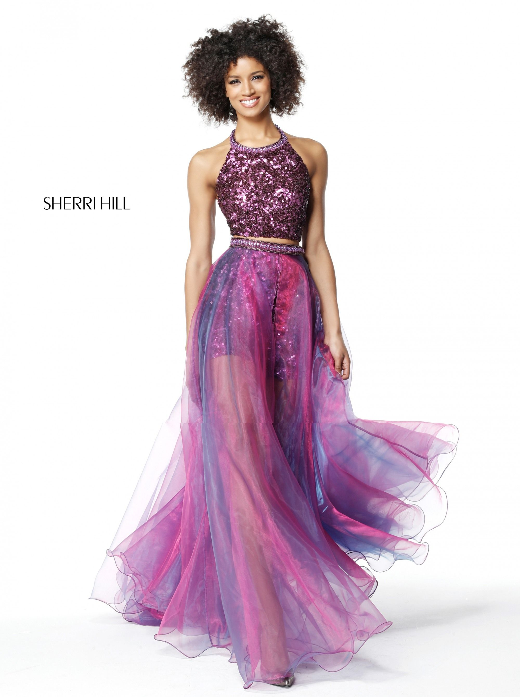 Sherri hill plum piece multicolor pageant perfection