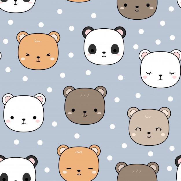 Cute Teddy Bear Panda Cartoon Seamless Pattern Teddy Bear Wallpaper Teddy Bear Cartoon Teddy Bear Doodle