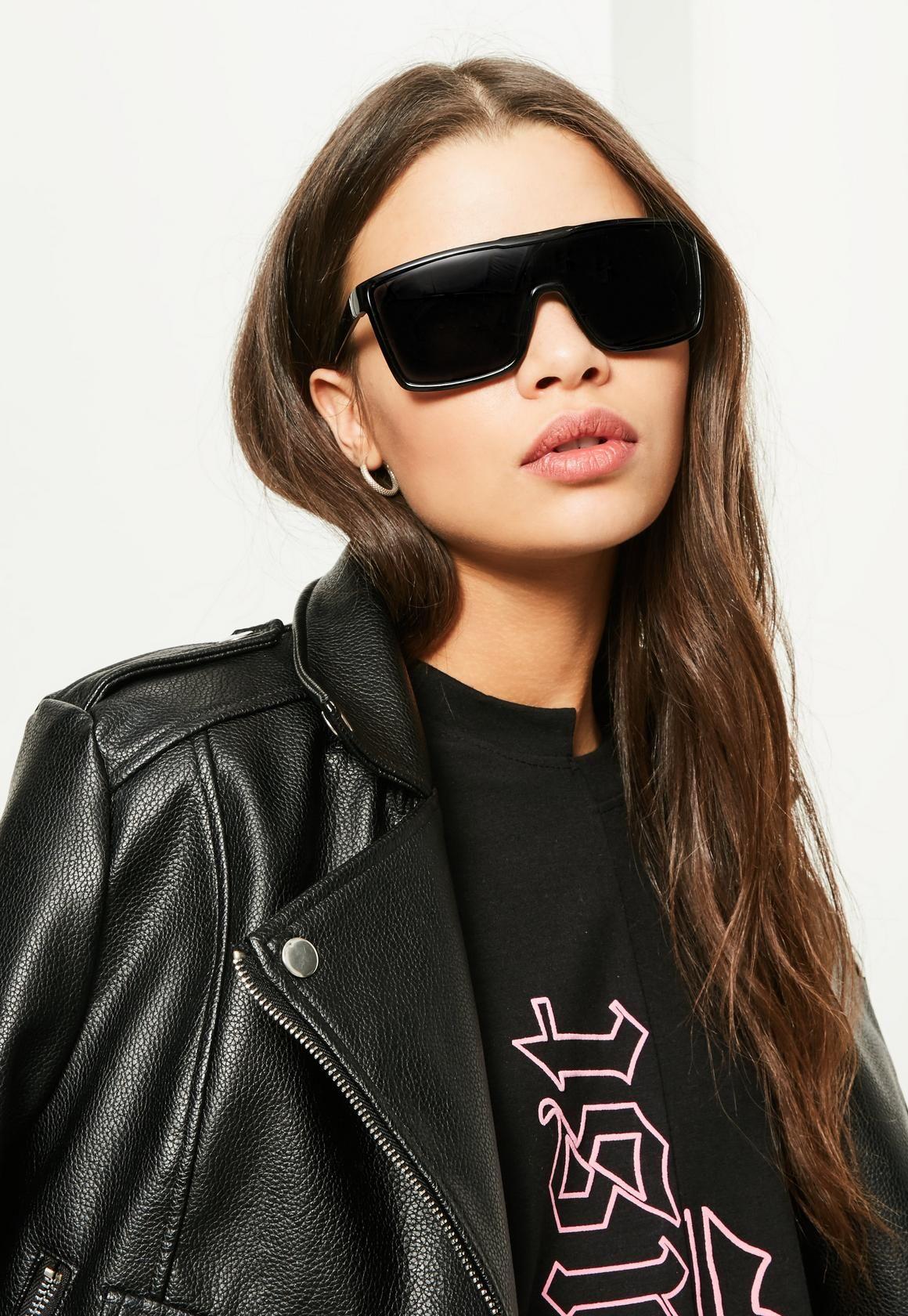 fcf56070bc2 Missguided - Black Flat Bar Sunglasses
