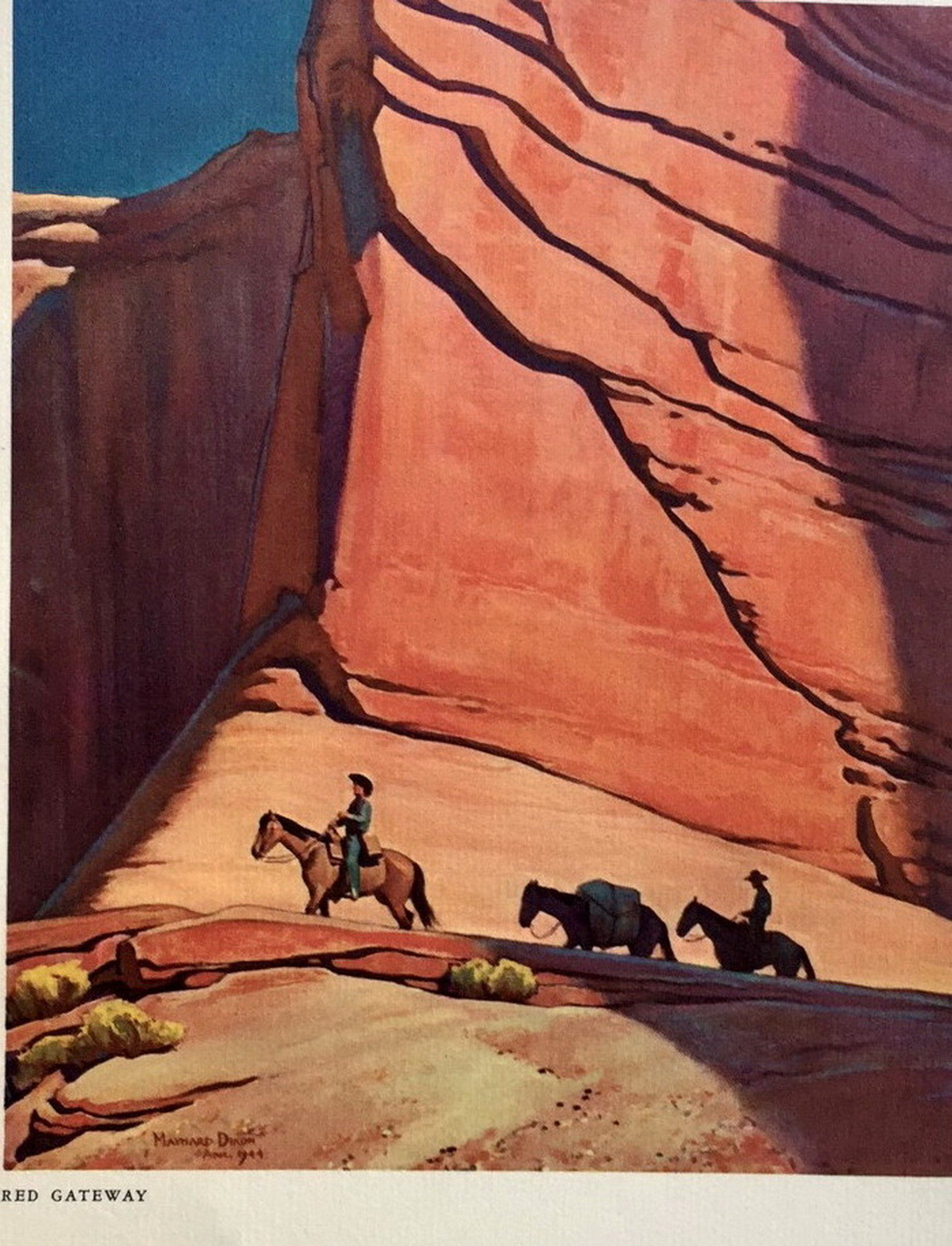 50s Original Wild West Cowboy Print Maynard Dixon Painting Etsy Western Paintings Western Painting Canvas West Art