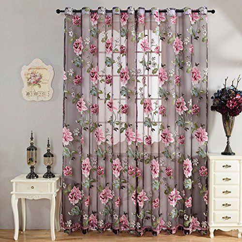 YOOYOO 106 X 39 Inch Door Room Flower Tull Window Screening Curtain Drape For Bathroom Living PURPLE Click On The Image Additional Details