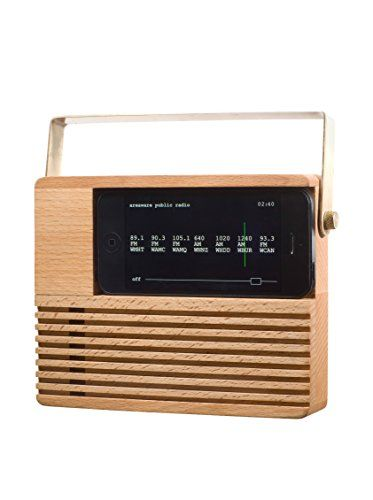 www.myhabit.com : Areaware Radio Dock, Natural Wood Place an iPhone 4 or 5 onto this radio dock and see an iconic and nostalgic form return to your nightstand or countertop; dock utilizes phone's built-in speakers and electronics and other app features include a dimmer mode, vertical and horizontal support, and the ability to set multiple alarms; iPhone connector can be pulled through the dock, allowing your device to recharge and public radio app is available for download, which finds up to…
