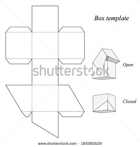 Square Box Template with lid Vector Boxes Bastelideen, Kleine