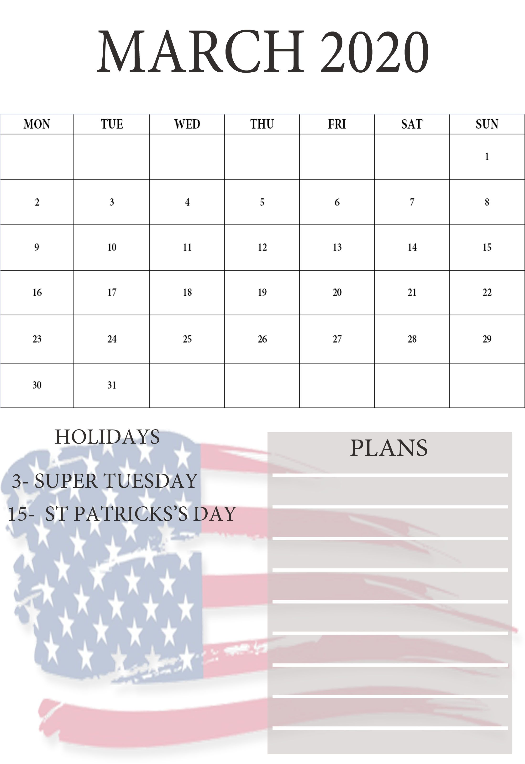 Here We Are Share 2020 March Month Calendar With Usa Holidays Or