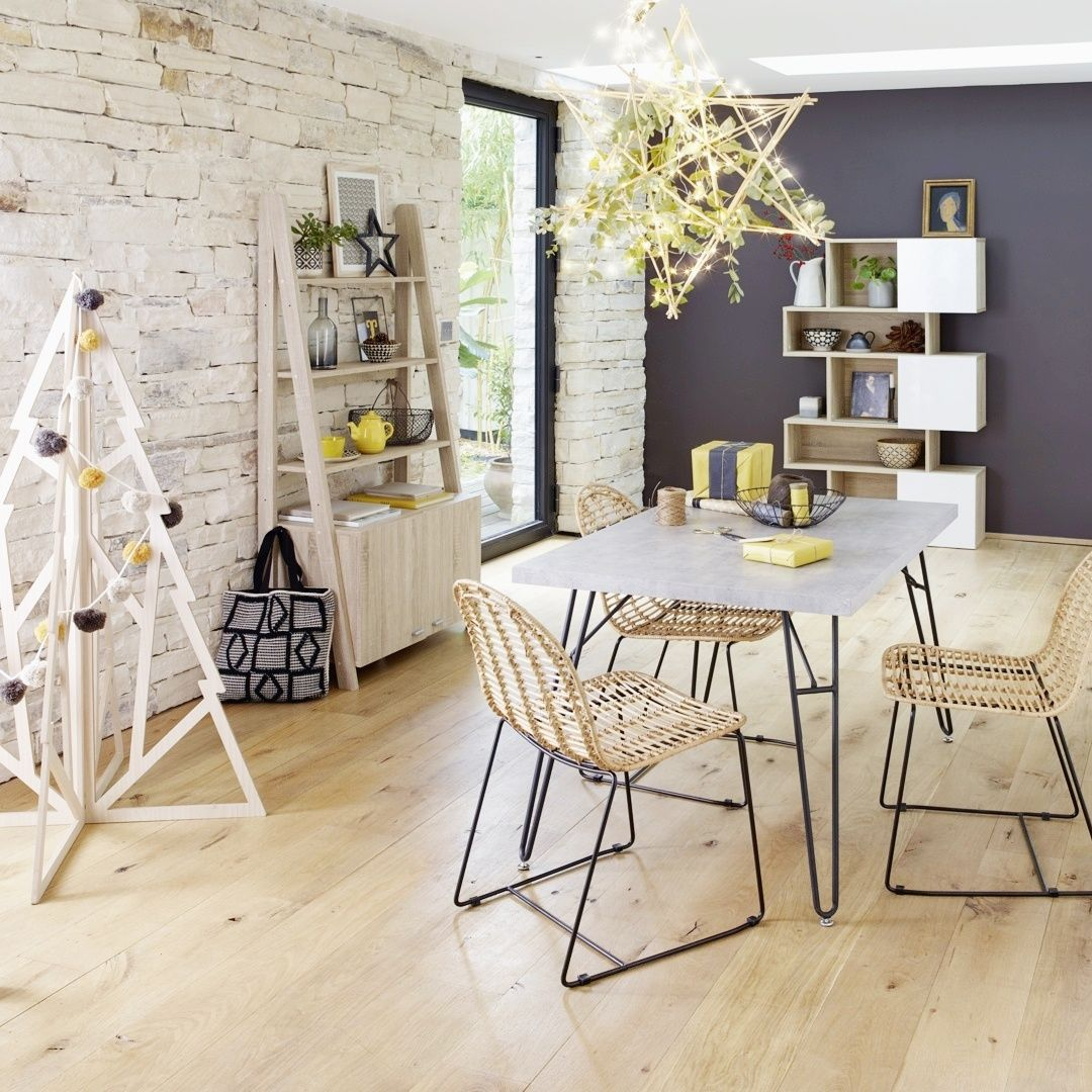 Table Rectangle Concrete Effet Beton Chaise Rotin Mobilier Salon Chaise