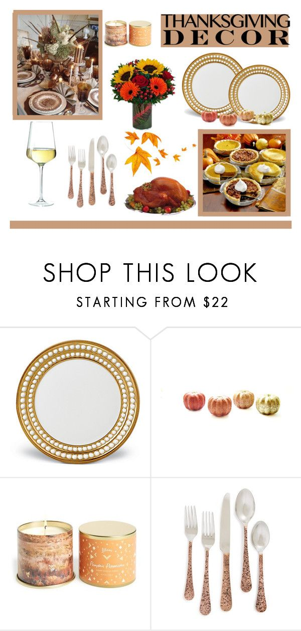 """""""Thanksgiving Table Decor!"""" by kemma-g ❤ liked on Polyvore featuring interior, interiors, interior design, home, home decor, interior decorating, L'Objet, Illume, MustHave and like"""