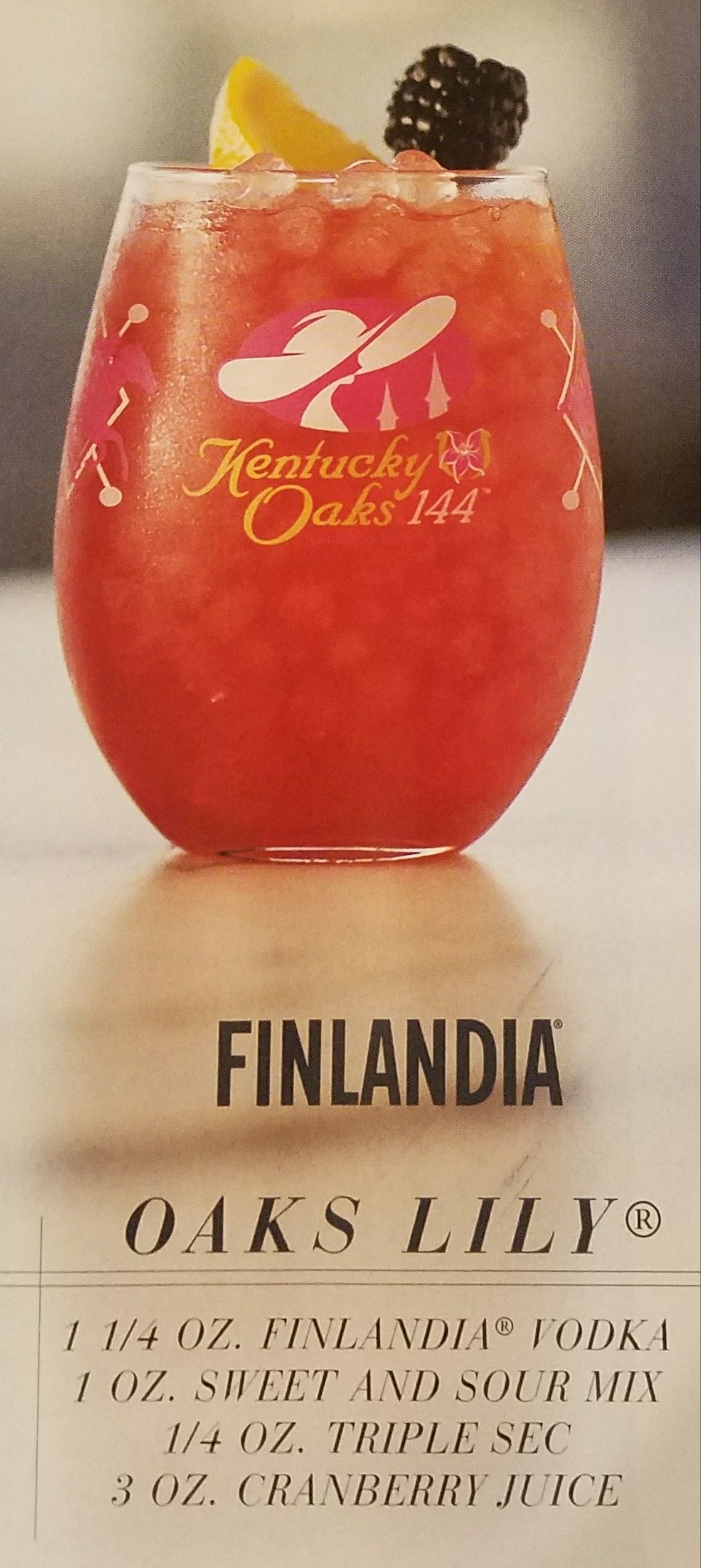 Oaks Lily Finlandia Vodka Stemless Wine Glass Cranberry Juice