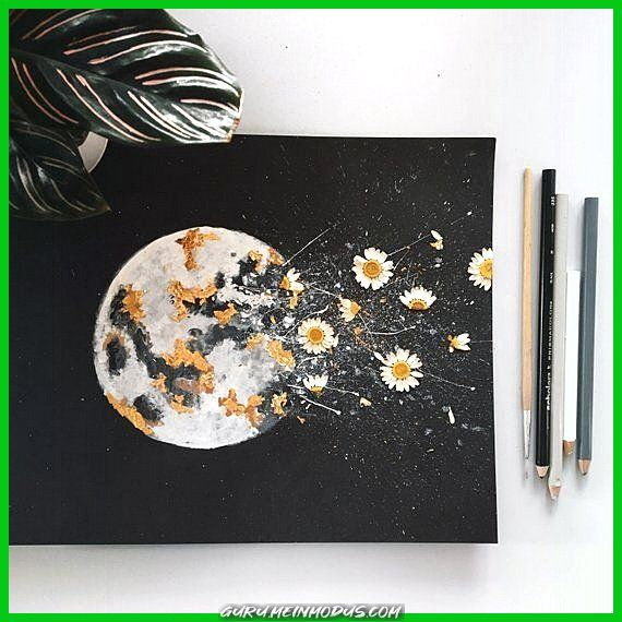 Photo of Breathtaking PRINT: DARK NIGHT, watercolor of the moon with gold leaf and dried flowers -…
