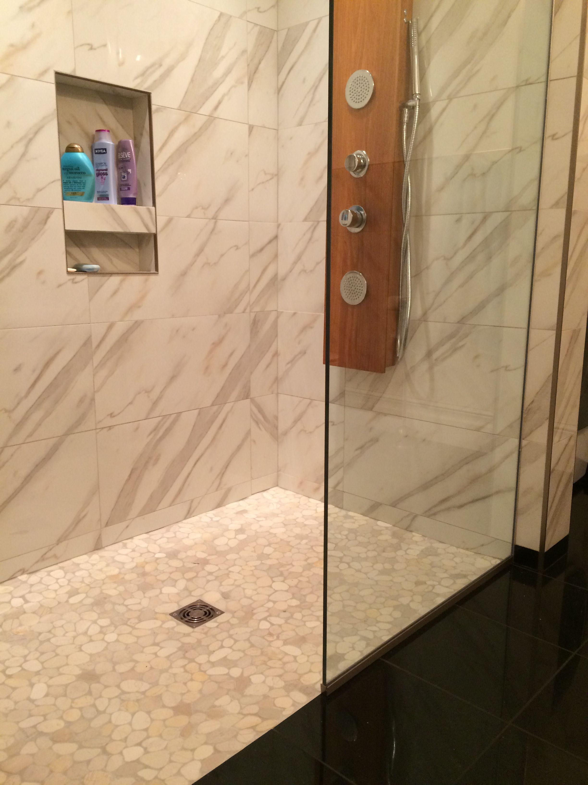 Sliced White Pebble Tile Shower Floor Subway Tile Outlet