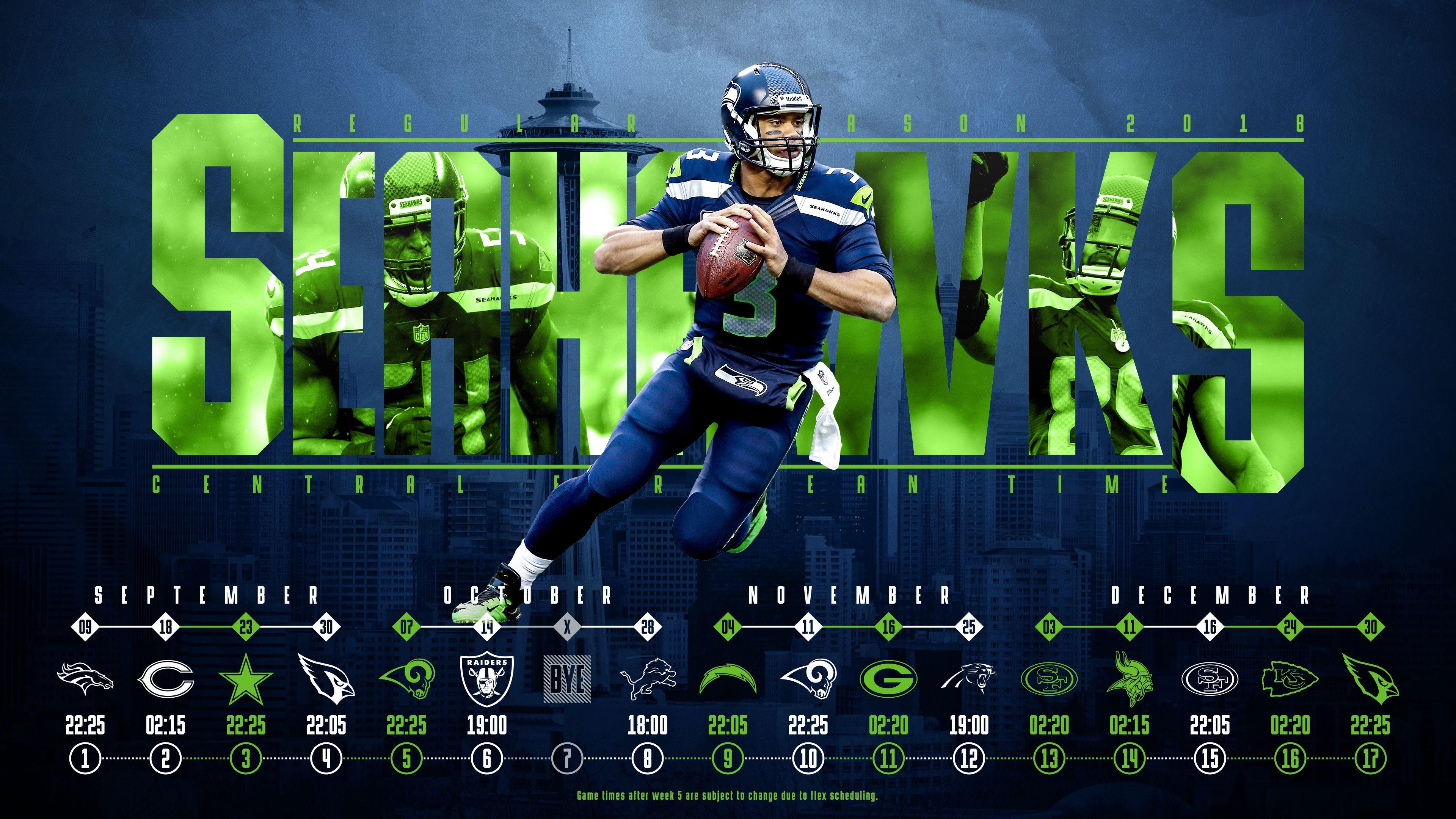 Schedule wallpaper for the Seattle Seahawks Regular Season