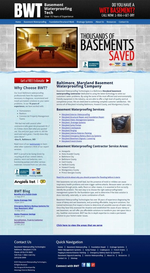 Website Design For Basement Waterproofing Tech Webdesign Web Design Layout Userinterface Website Designed A Portfolio Web Design Web Design Web Portfolio
