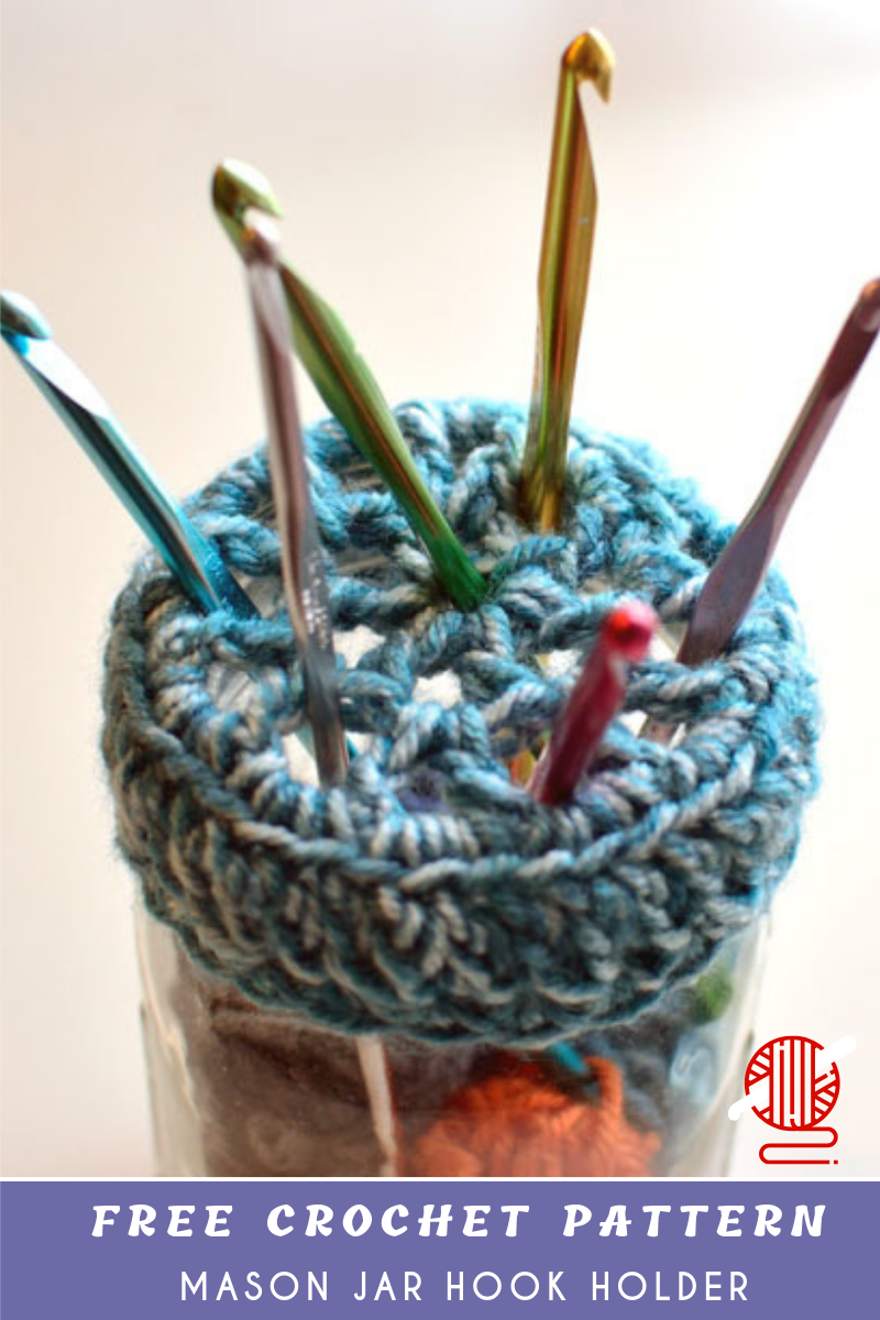 Mason Jar Hook Crochet Holder Free #crochethooks