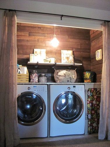 Pallet doors pallet wall laundry room and curtain - Laundry room wall ideas ...