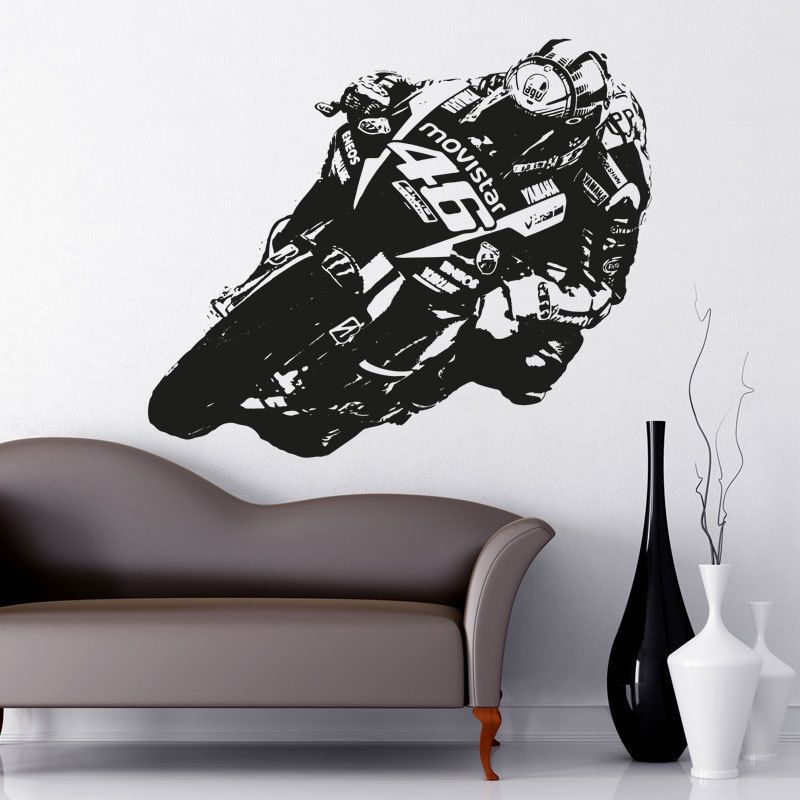 Valentino rossi moto gp vinyl wall art sticker decal motorbike mb1 in home furniture diy home decor wall decals stickers ebay