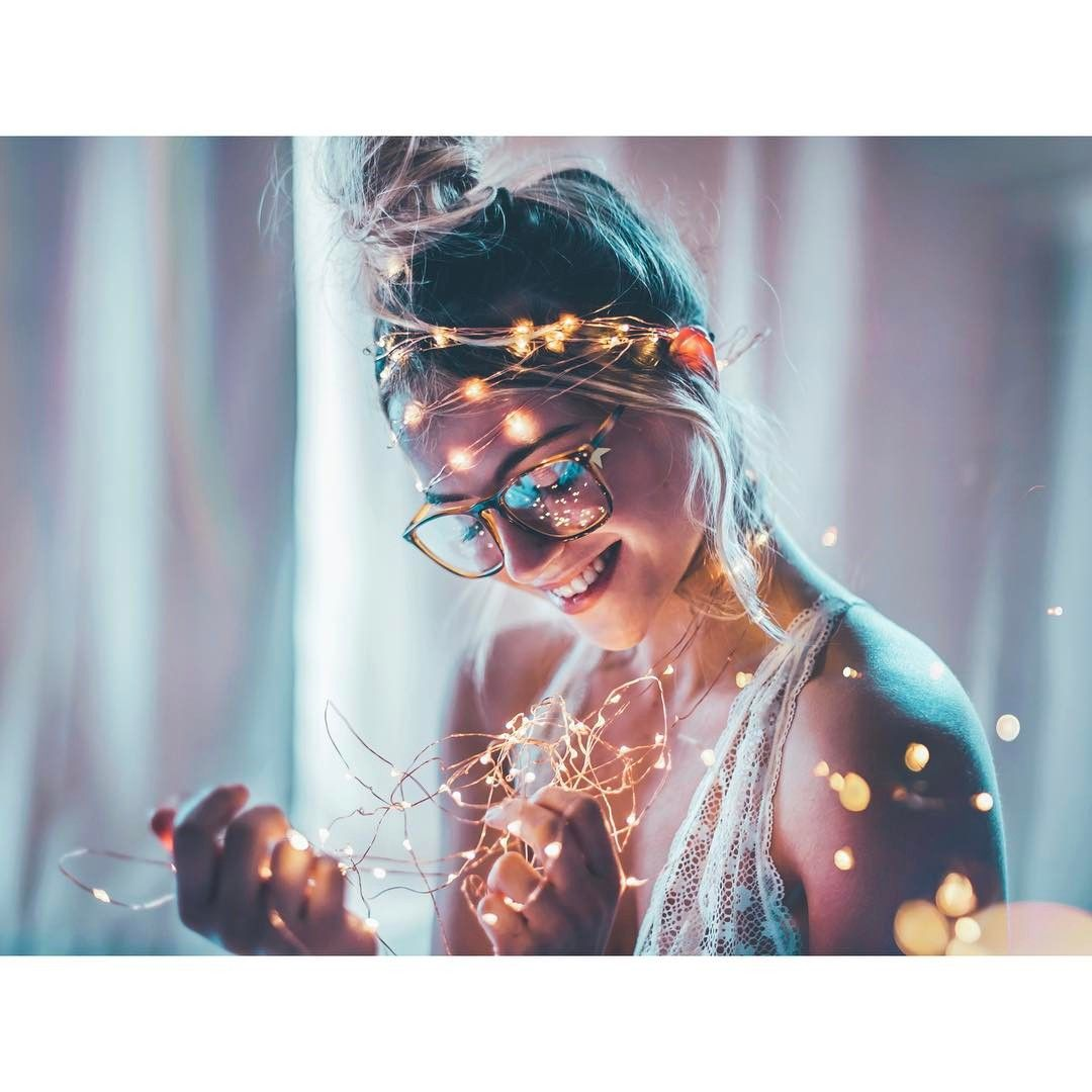 Fairy Lights Glasses Girl