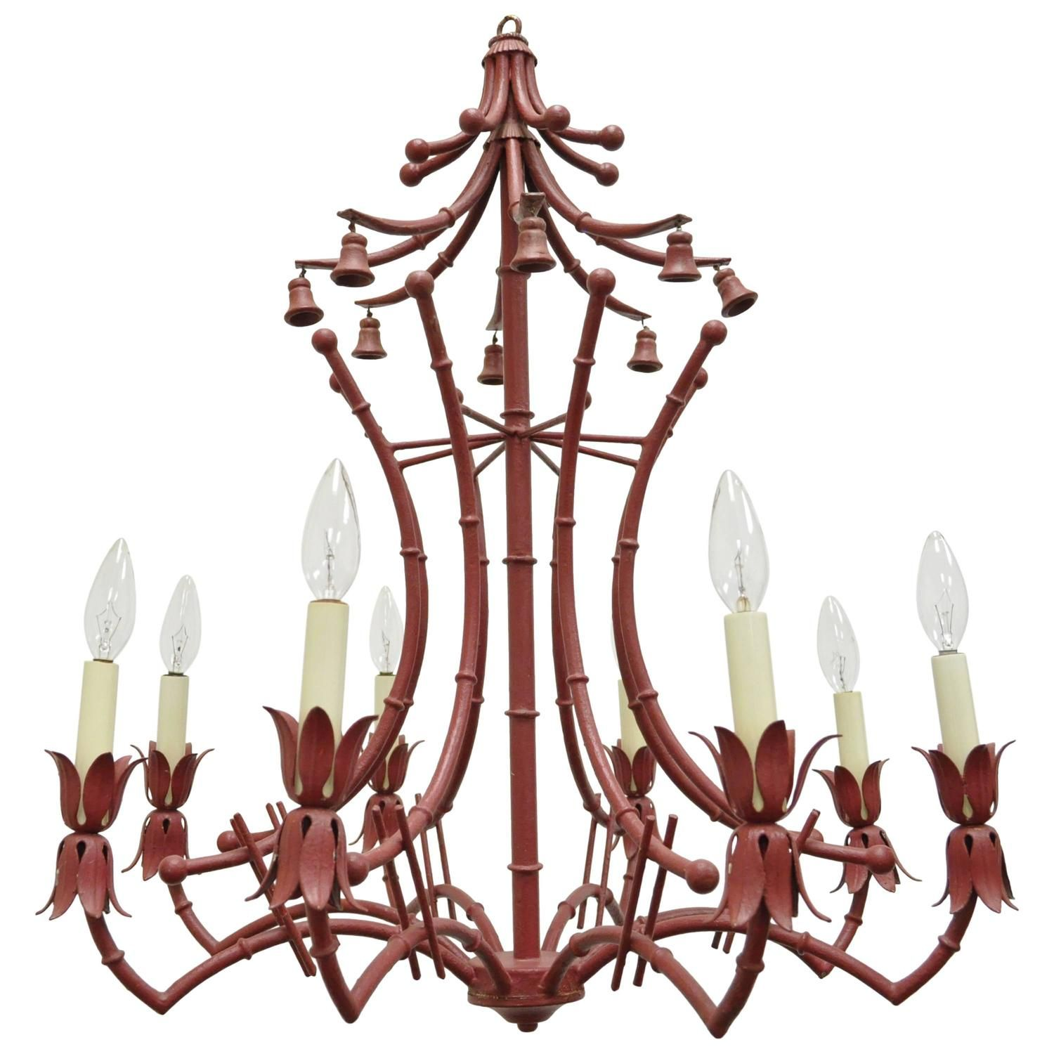 Vintage red italian faux bamboo chinese chippendale style tole vintage red italian faux bamboo chinese chippendale style tole pagoda chandelier arubaitofo Images