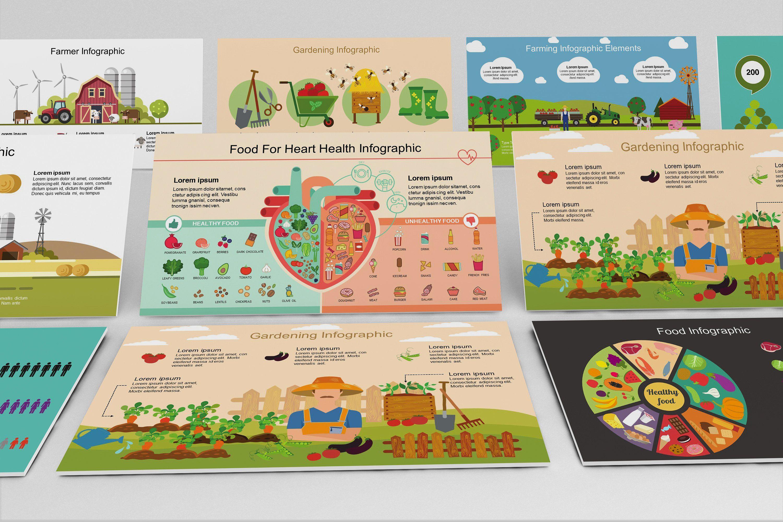 mega food powerpoint infographic set amp healthy beverages platters