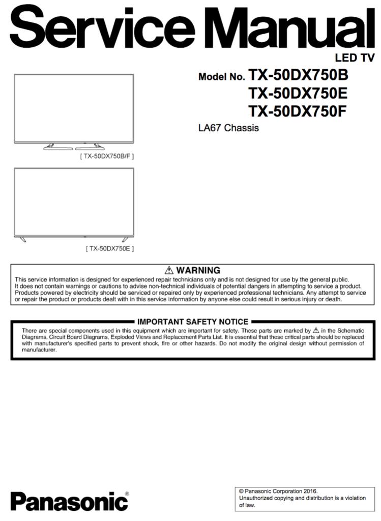 Panasonic Tx 50dx750b E F Service Manual Complete Electronic Circuit Projects Panasonic Manual