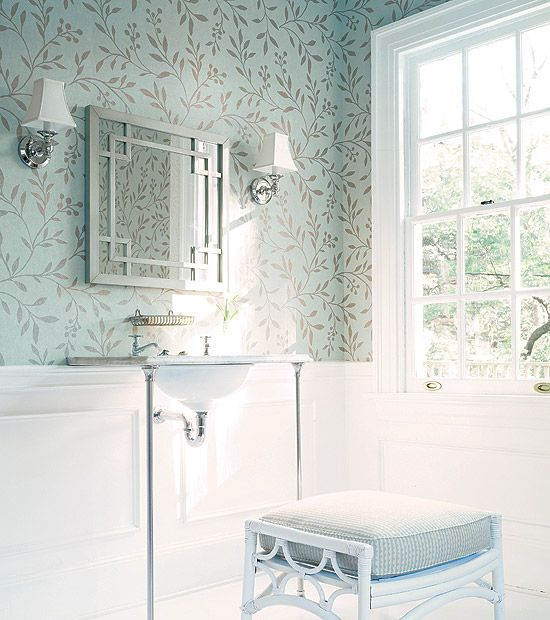 love wallpaper above molding & chair rail! works great for a