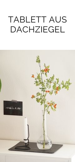 diy tablett aus einem rechteckigen schiefer-dachziegel machen, Garten ideen