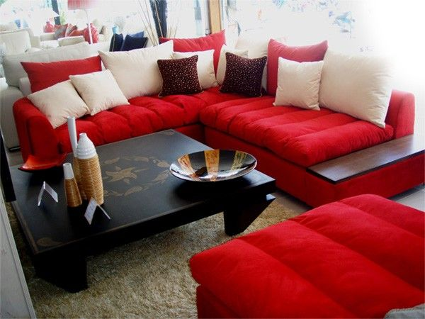 Cool Bright Red Sofa Perfect 55 In Table Ideas With