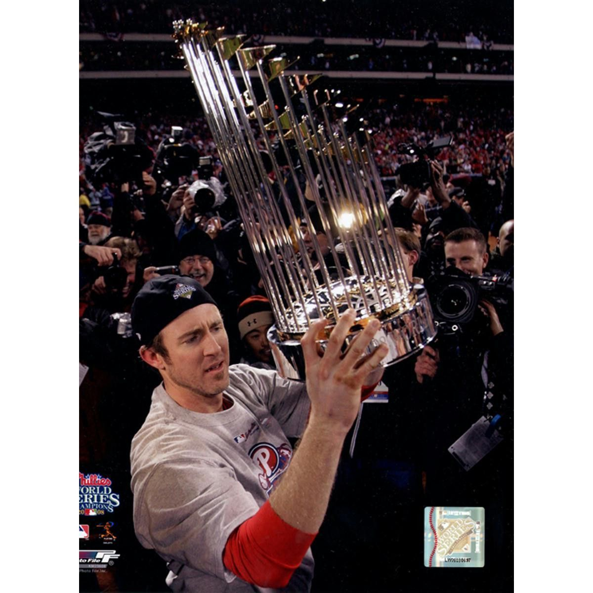 Chase Utley with 2008 WS Trophy 8x10 Photo Phillies