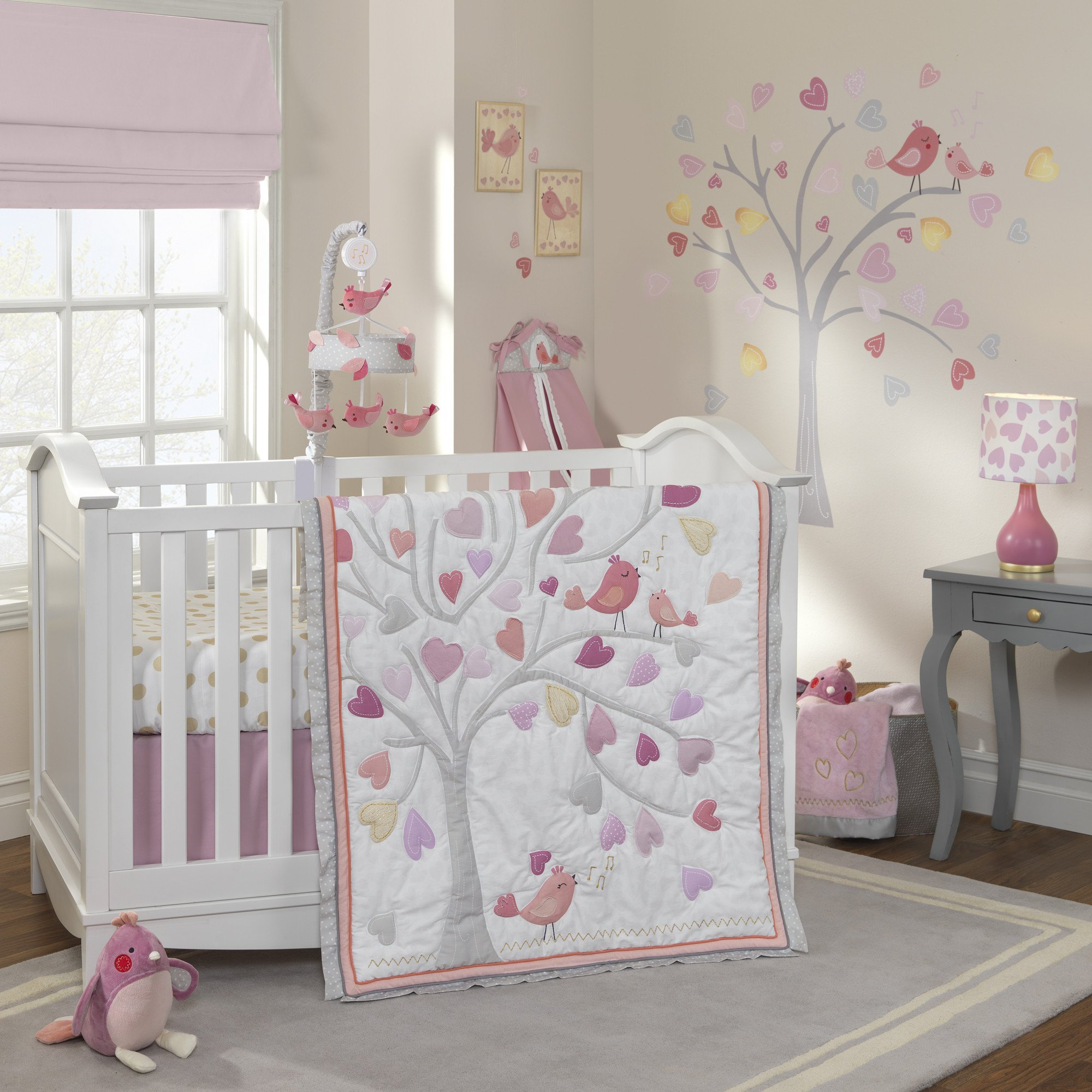 Love Song Pink White Tree With Hearts Nursery 4 Piece Baby Crib Bedding Set