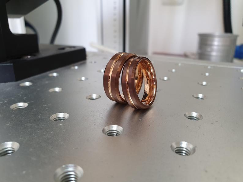 Rose Gold Espresso Tungsten Ring,Espresso Tungsten Wedding Ring,Emerald Wedding Ring,Tungsten Carbide,Men/&Women,Engagement And Anniversary