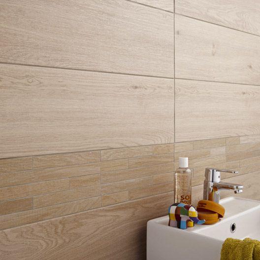 Carrelage salle de bain mural bor al artens en fa ence d cor ch ne naturel 20 x 60 cm id es - Leroy merlin carrelage mural salle de bain ...