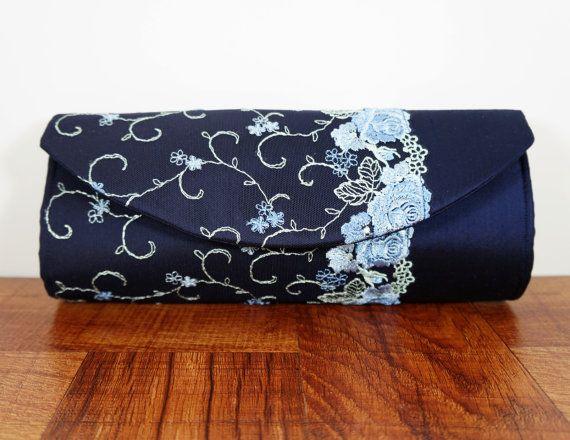Navy Blue Clutch Silk Purse Lace Bag By Toriska Embroidered