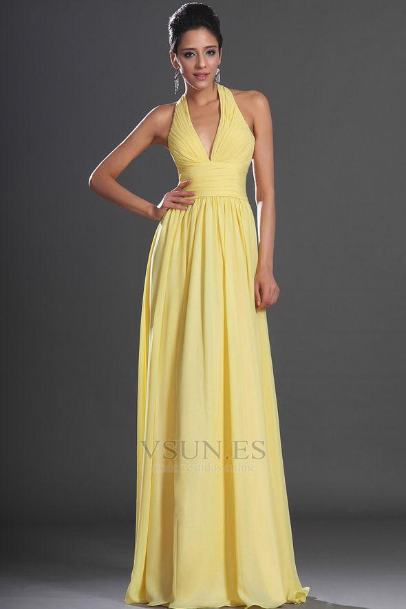 be55b09ba Vestido de noche primavera Espalda medio descubierto sexy Amarillo claro