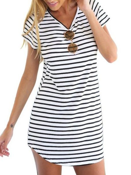 nice Women's Cotton Casual Monochrome Stripe Short Sleeve Shift Dress Check more at http://shipperscentral.com/wp/product/womens-cotton-casual-monochrome-stripe-short-sleeve-shift-dress/