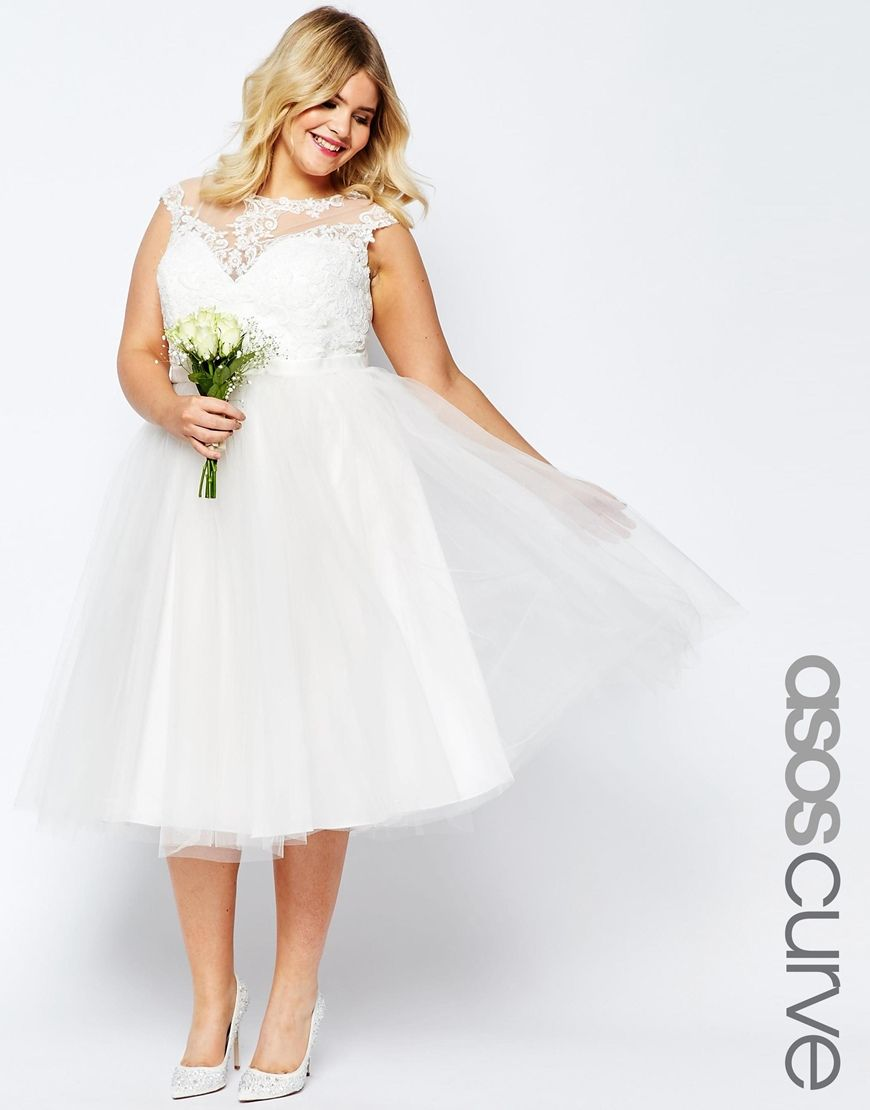 f8552cdec3f Image 1 of ASOS CURVE BRIDAL Lace Sweetheart Tutu Midi Dress. ASOS CURVE  BRIDAL Lace Sweetheart Tutu Midi Dress Dream Wedding Dresses ...