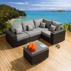 outdoor garden corner sofa l shape set group black rattan grey l1 - Rattan Garden Furniture L Shape