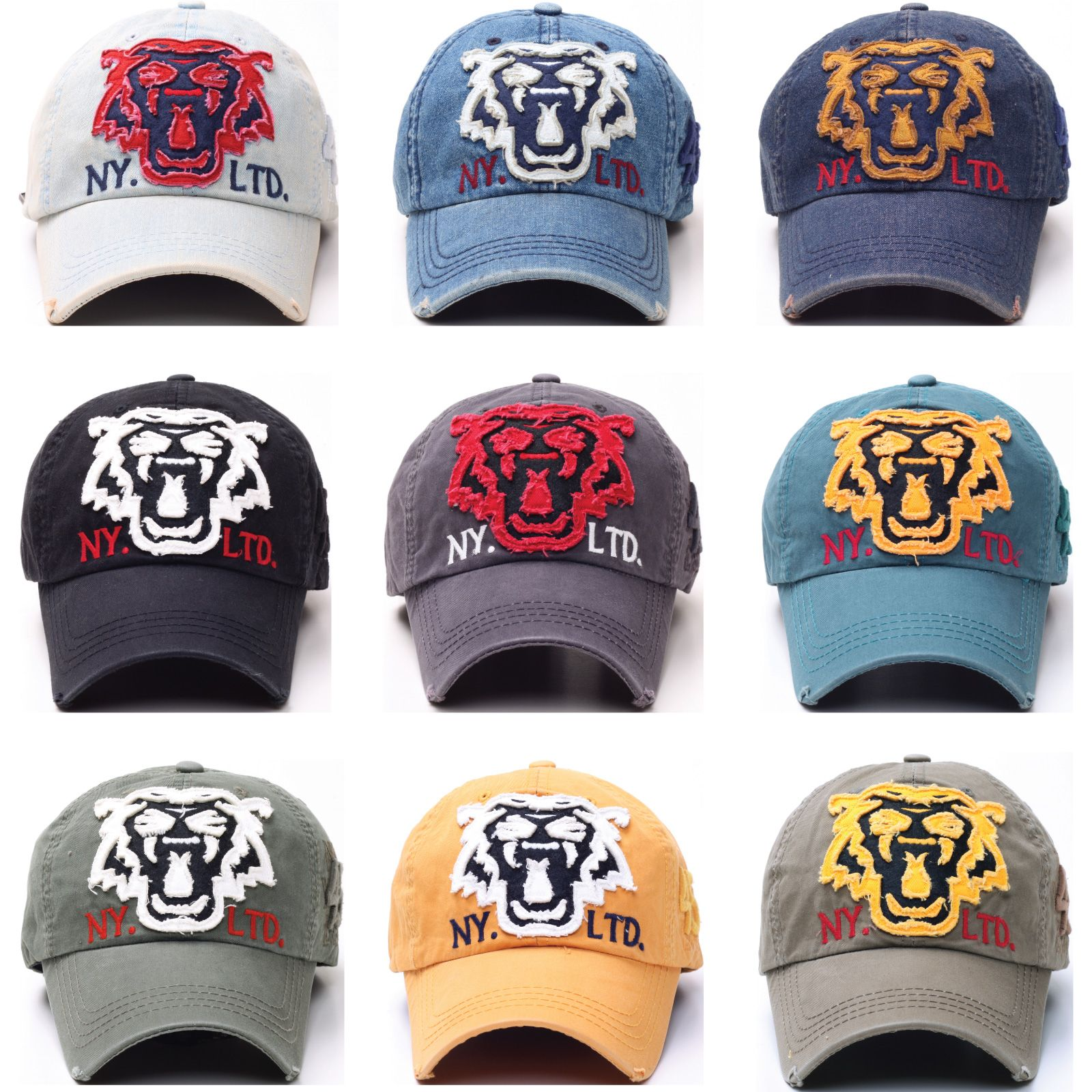 10686146bac0e B50 Vintage Tiger Tattoo Emblem Punk Style Flat Ball Cap Baseball Hat  Truckers