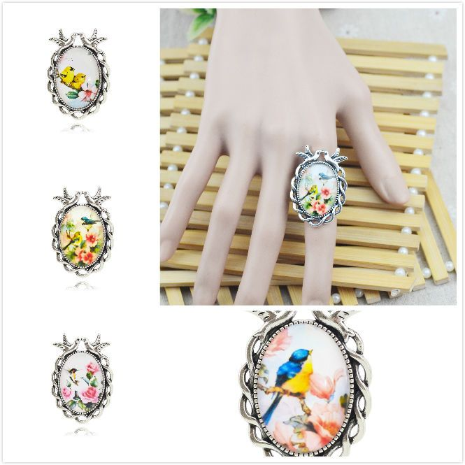 New Alloy Handmade Fashion Birds Flowers Glass Dome Retro Silver Plated Ring #UnbrandedGeneric