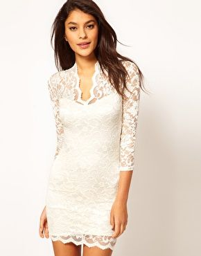 Enlarge Asos Lace Dress With Scalloped Neck