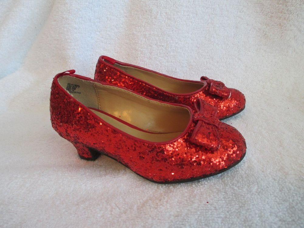 Red Glitter Shoes 7 Toddler Girls Heels Wizard Oz Dorothy Ruby Slippers George Slippers Slippers For Girls Red Glitter Shoes Girls Heels