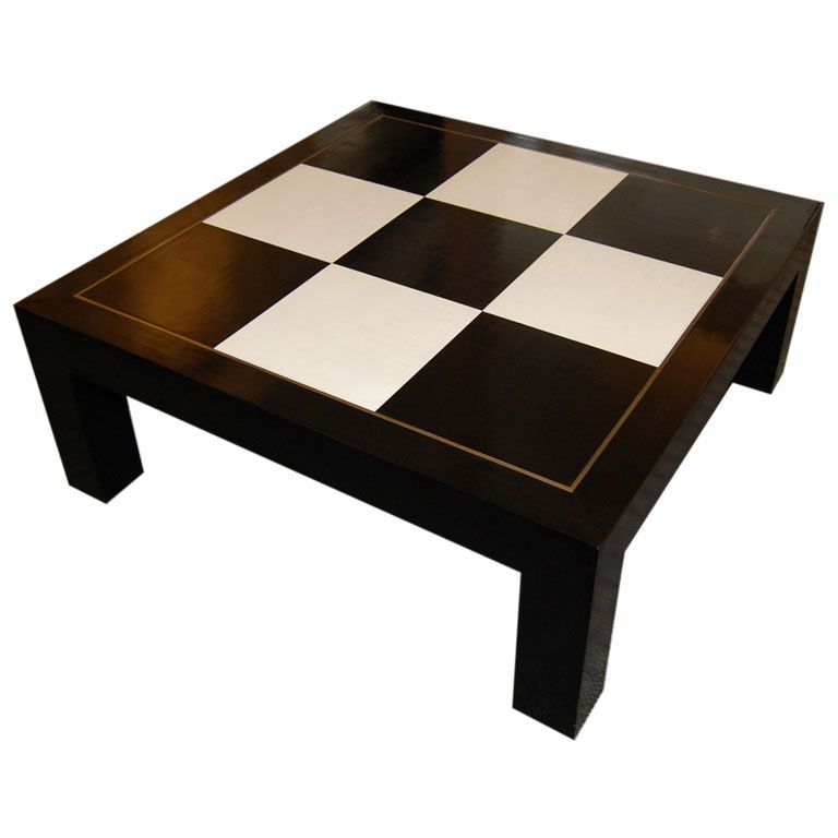Cashew Lacquer Coffee Table With Crackled Checkerboard Pattern