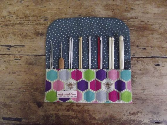 This crochet hook rolls has eight sections to hold your hooks, theyre of varying size as the photos portray (I prefer this for organising, the
