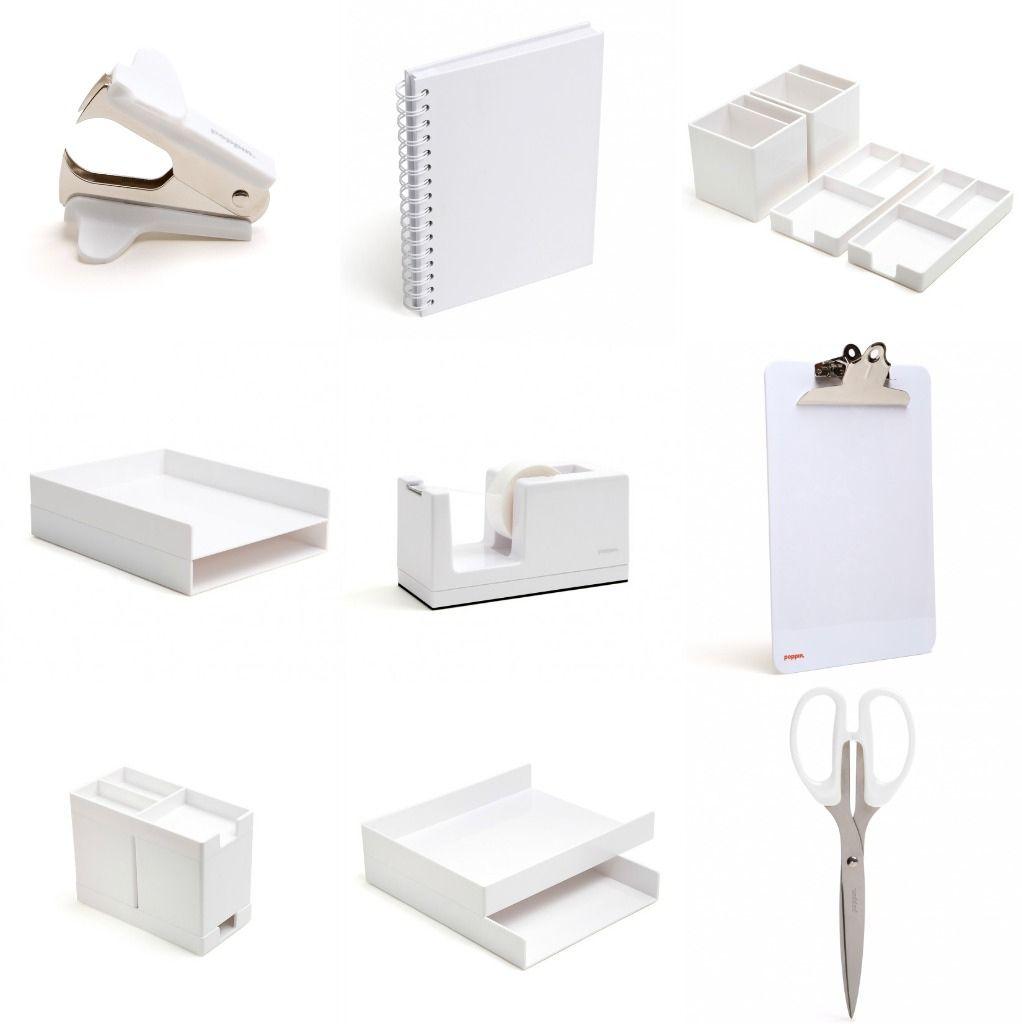 White Lacquer Desk Accessories - Home Office Desk Furniture Check ...