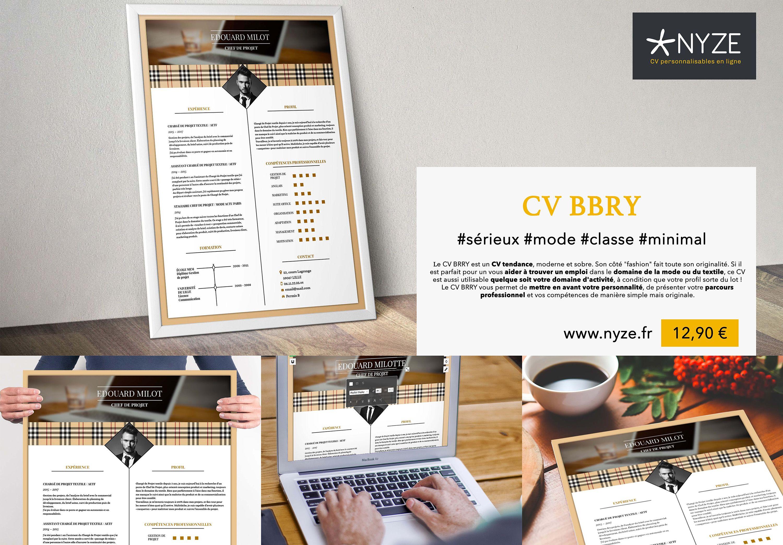Le CV BRRY est un CV tendance, moderne et sobre. Son côté